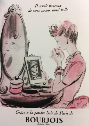 """Image of a woman with powder jar and puff. Found in """"Face Paint: the Story of Makeup"""" by Lisa Eldridge."""